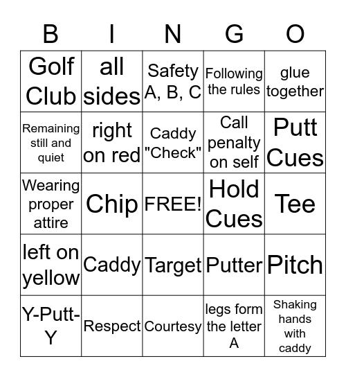 Golf BINGO Card