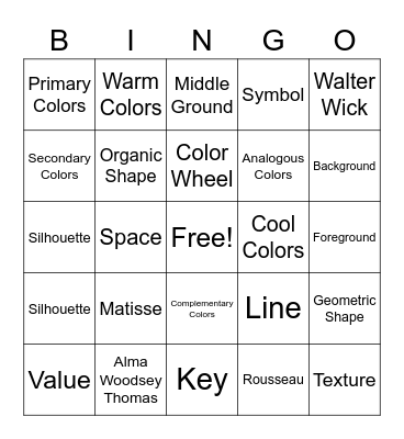 Art Bingo- 3rd Grade Bingo Card