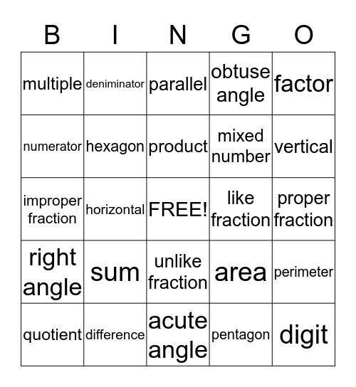 MATH WORDS Bingo Card