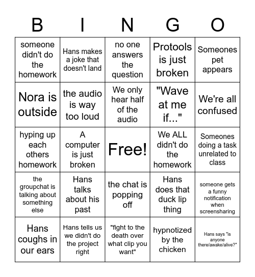 Digital Sound Workshop Bingo Card