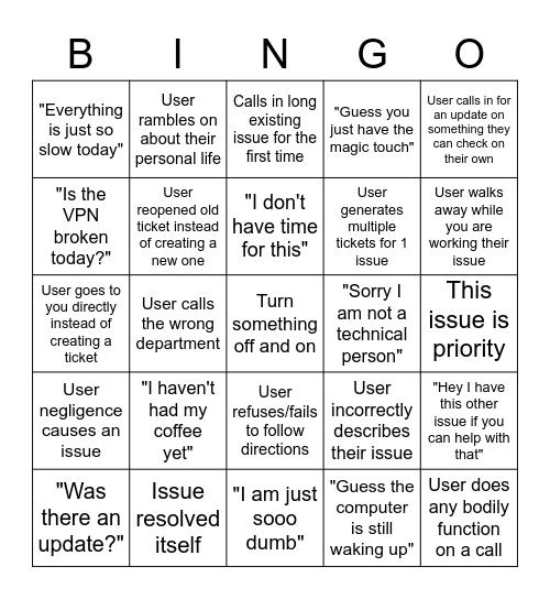 IT Daily Bingo Card