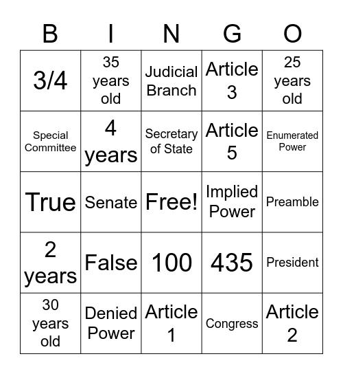 SPS Constitutional Bingo Card
