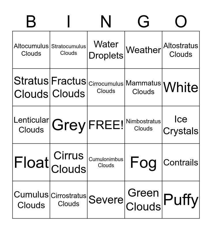 Crazy Crazy Clouds Bingo Card