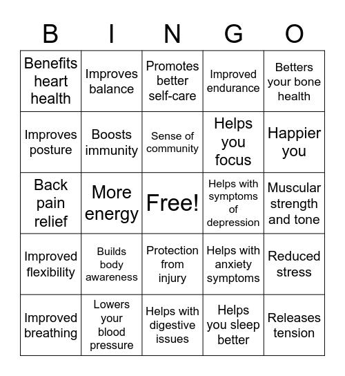Health Benefits of Yoga Bingo Card