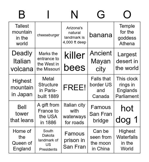 World Geography Bingo Card