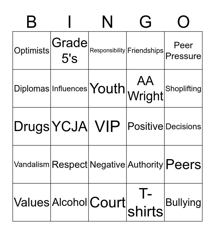 VIP Bingo Card