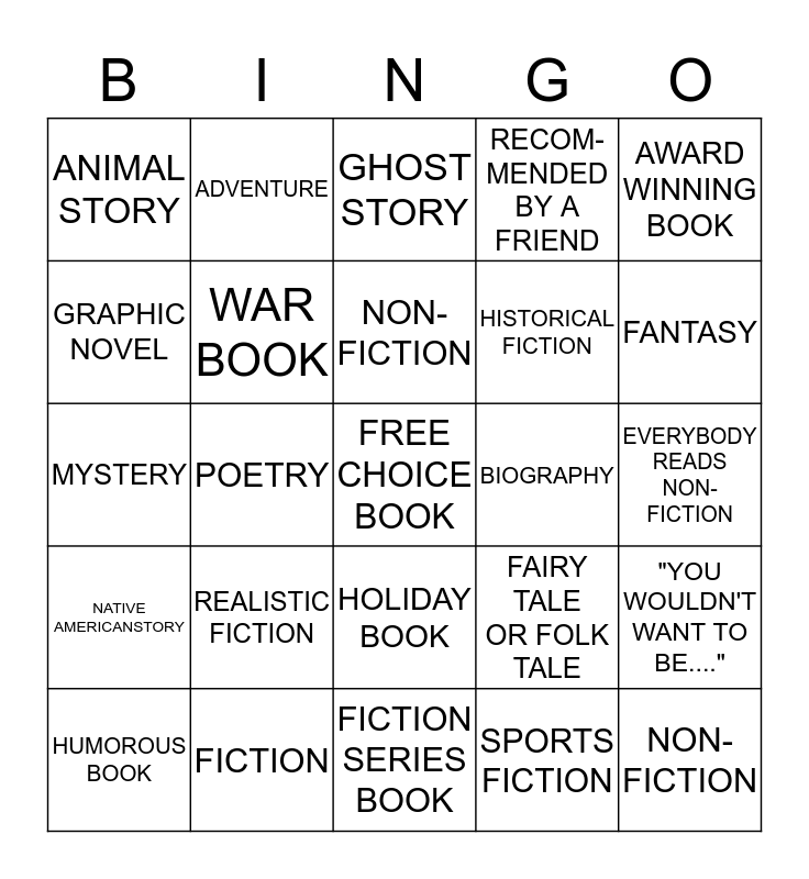 Reading Counts BINGO Card