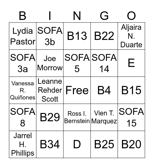 Restructuring Bingo Card