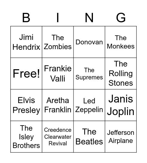 Groovy Bingo Card