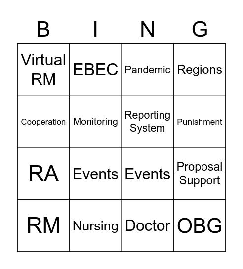 VP LGS Bingo Card
