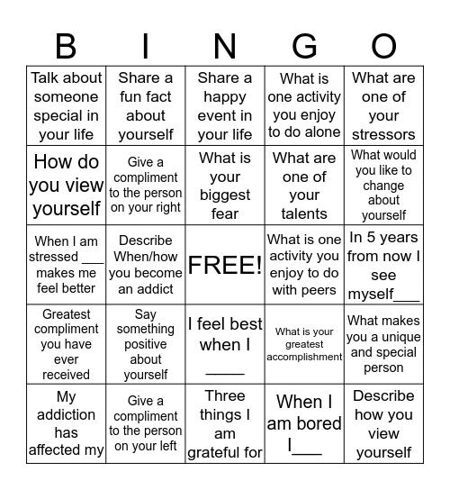 Social Bingo Card