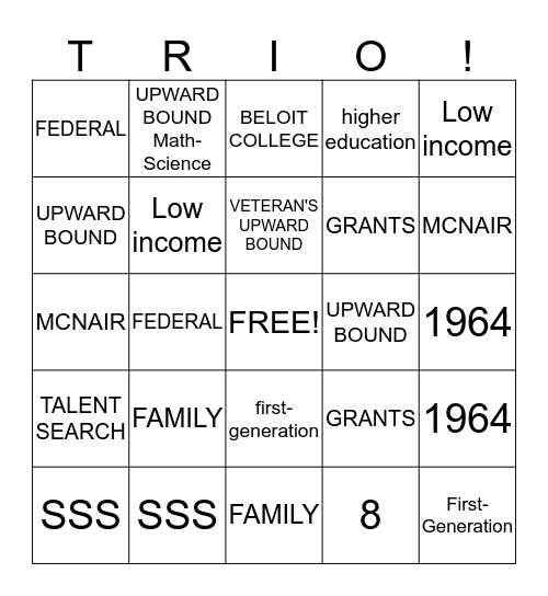 TRIO BINGO Card
