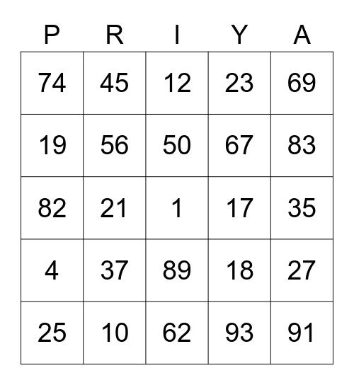Priya Bingo Card