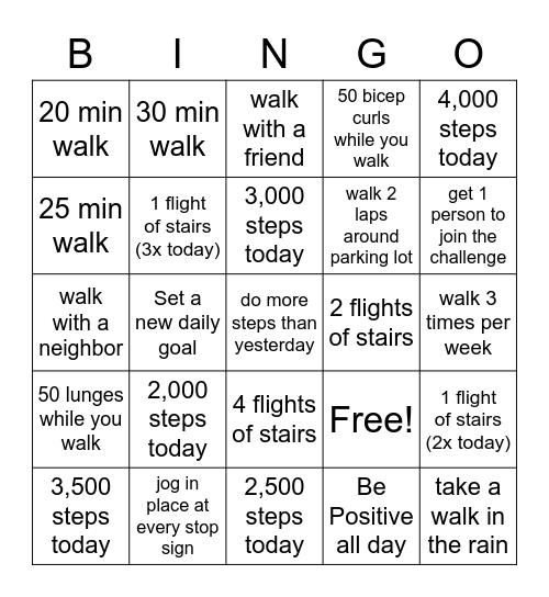 JUNE 2019 Walking Challenge Bingo Card