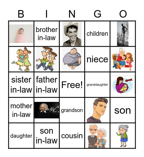 The family Bingo Card