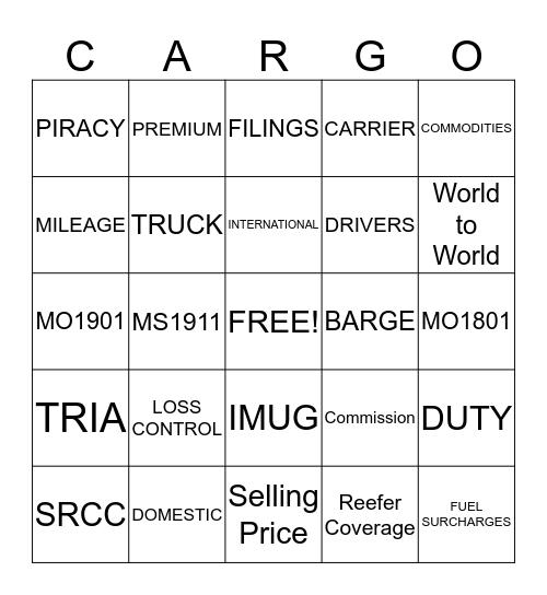 Marsh Marine Cargo (Bingo) Bingo Card