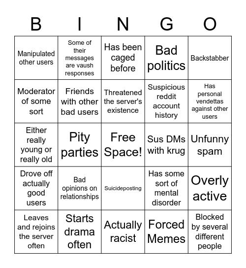Shitty Rez User Bingo Card