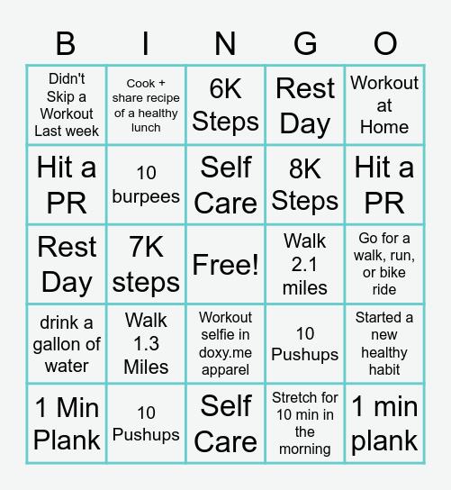 Doxy.me Fitness Bingo Card