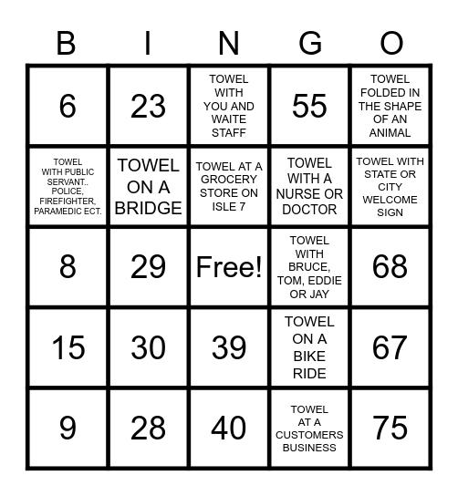 "Beach "" TOWEL"" Bingo Card"