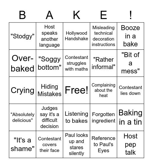 Ultimate Bake Off Card Bingo Card