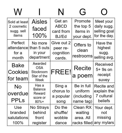 Walgreens 9272 Bingo Card