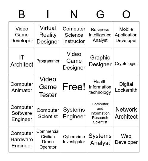 Computing Careers Bingo Card