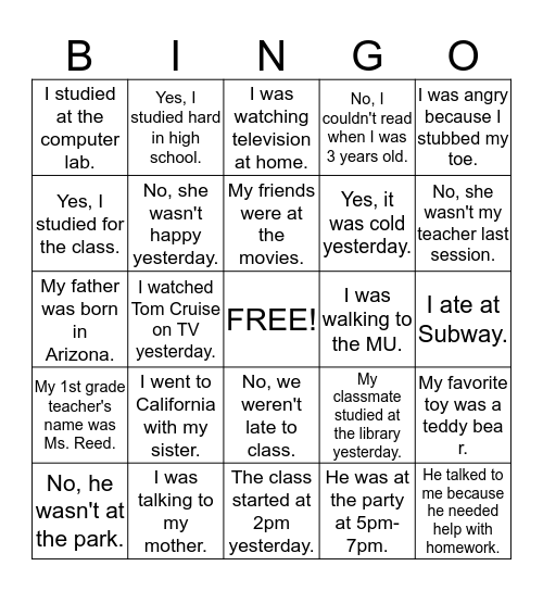 Create Questions Bingo Card