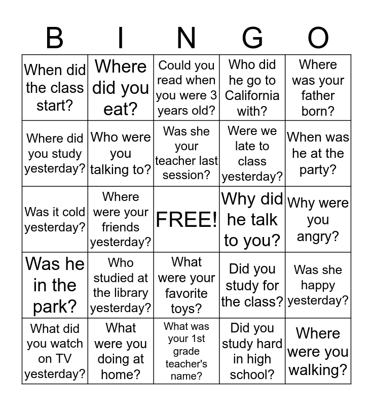 Past Tense Questions Bingo Card