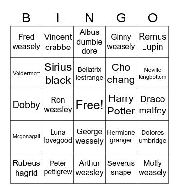 🧙♂️ HARRY POTTER  🧙♀️ Bingo Card