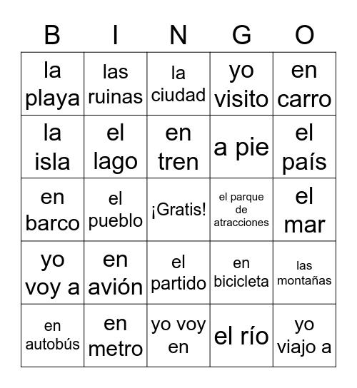 Viajar Bingo Card