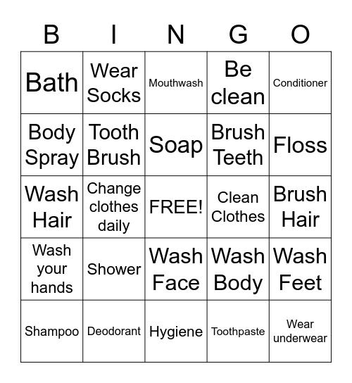 Hygiene Bingo Card