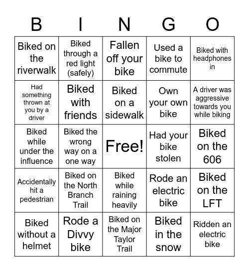 Chicago Biking Bingo Card