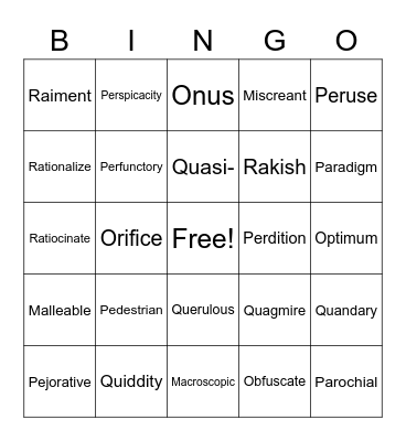 Vocab Lesson 15 Bingo Card