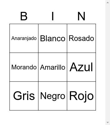 Spanish Colors Bingo Card