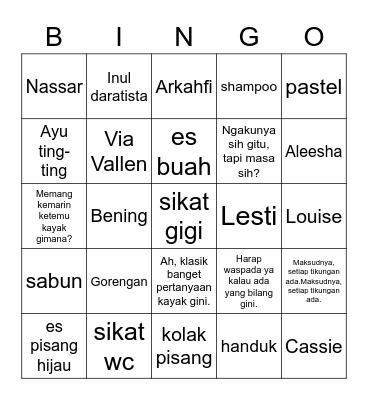 Saras. Bingo Card