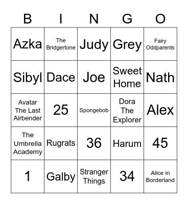 Natasya's Bingo Card