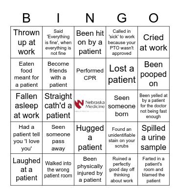 Never Have I Ever... Nursing Edition Bingo Card
