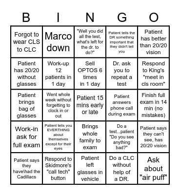 KING'S EYECARE BINGO (Tech) Bingo Card