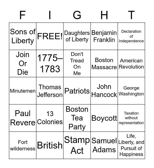 American Revolutionary War Bingo Card