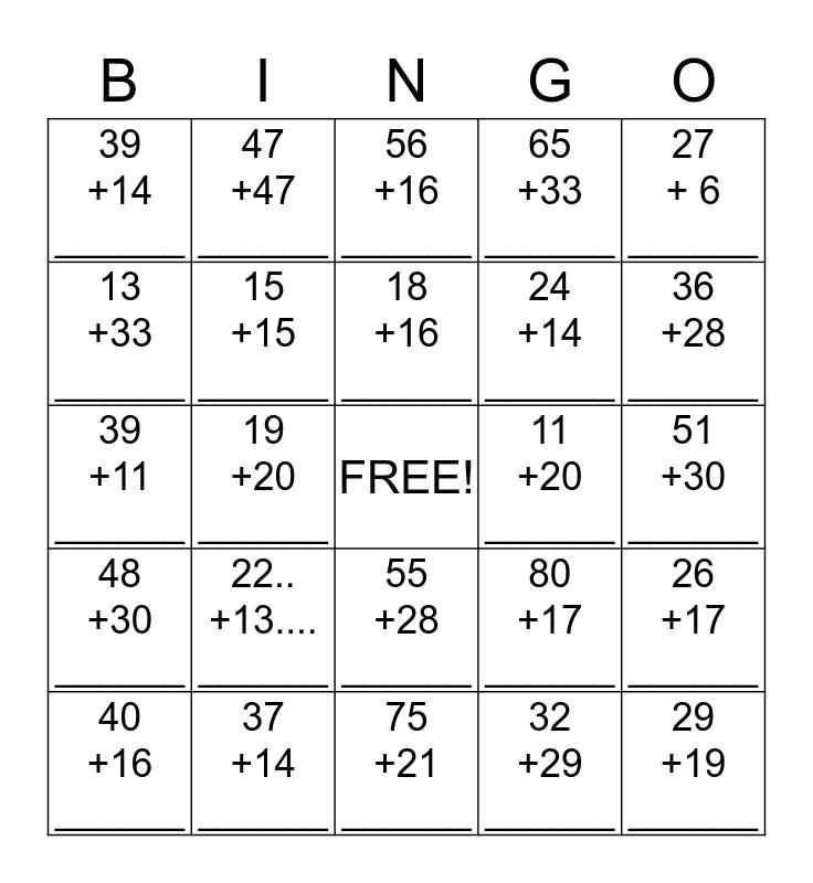 2 Digit Addition Bingo Card