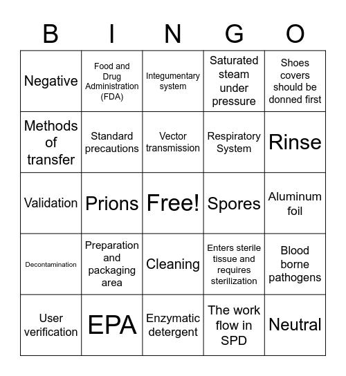 Are you Sterile? Bingo Card
