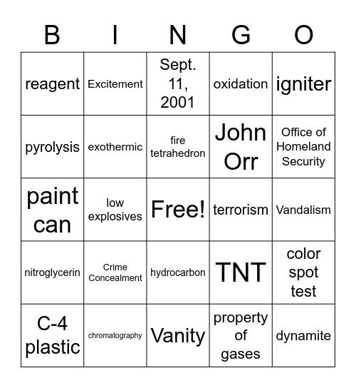 Forensic Science Unit 8 Bingo Card