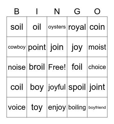 oi/oy Bingo Card