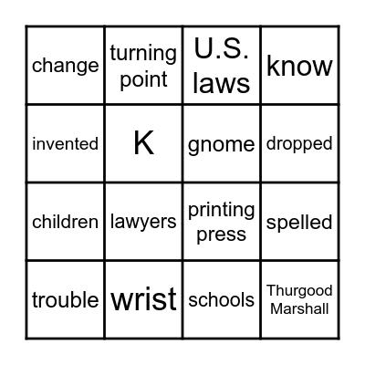 2.3  Did I Spell it Wrong?/Thurgood Marshall Bingo Card