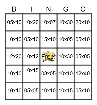 Sponge Bob Square Feet Bingo Card