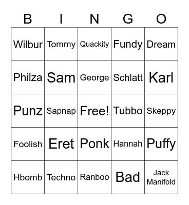 Bad DSMP Creators Bingo Card