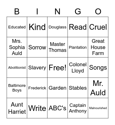 Frederick Douglass Bingo Card