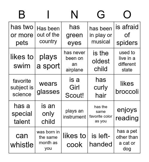 STEM Camp Bingo Card