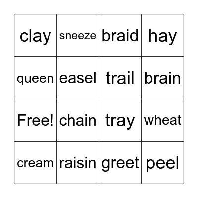 ee, ea, ai, ay Bingo Card
