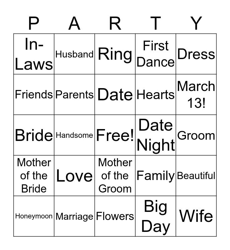 Rebecca's Big Day! Bingo Card